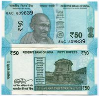 India Pnew 2017 50 Rupees Uncirculated Banknote New Color