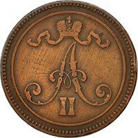 Finland, Alexander II, 10 Pennia, 1865, EF(40-45), Copper, KM:5.1