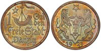 """DANZIG. 1923 AR Gulden. PCGS MS66. Ship and star divide denomination / Shielded arms with supporters, star above, date below. KM 145; Parch. 61; J. D7.Please use this link to verify the PCGS certification number <a href=""""http://www.pcgs.com/cert/3"""