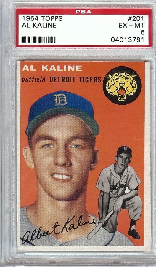 Al Kaline 1954 Topps Rc Rookie Baseball Card Graded Psa Ex Mt 6 Cardinals 201
