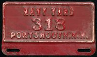 Rare 1930's Portsmouth Navy Yard Auto License Plate or Plate Topper #'d 318