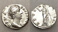 AC#ST Ancient Roman Empire Diva Faustina Denarius Silver Coin AD 161 3.4g 17mm