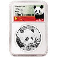 2018 30 Gram Silver Chinese Panda Coins NGC MS70 ER
