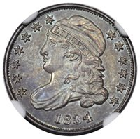 1834 Bust Dime Large 4 JR-5 NGC MS-64+ CAC Ex. Newman
