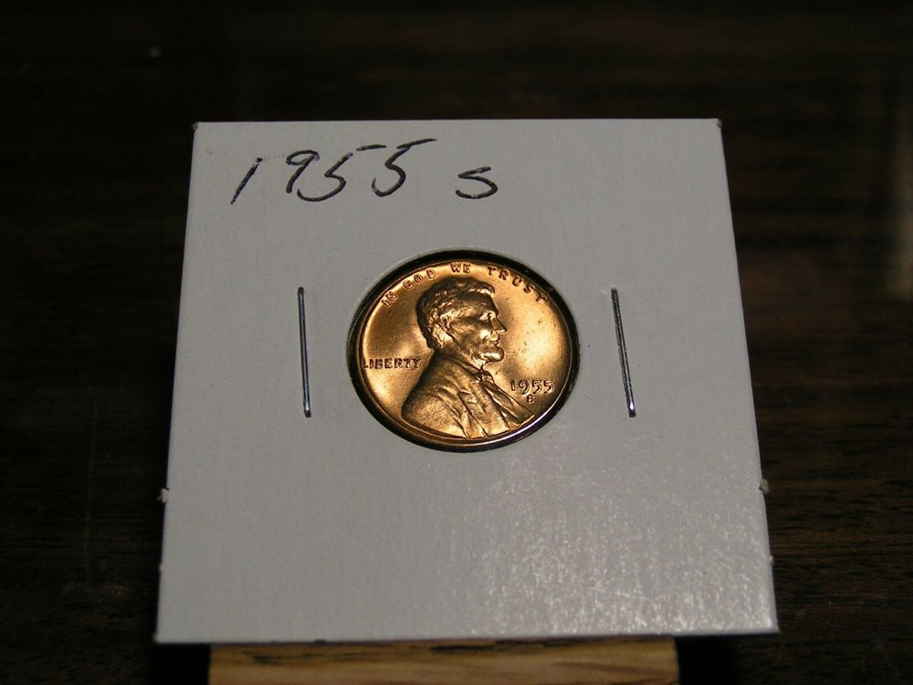 1955 S Lincoln Wheat Penny Nice Red Bu Coin