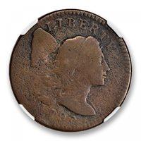 1795 PLAIN EDGE Liberty Cap Cent 1C NGC VG DetailsBN