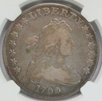 1799 Draped Bust Dollar NGC F-12 BB-160 B-12