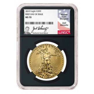 1//10 oz NGC MS70 First Day Issue 1st Label Black 2018 American Gold Eagle $5
