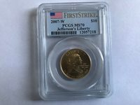 2007 W $10 GOLD JEFFERSON'S LIBERTY FIRST SPOUSE PCGS MS70 FIRST STRIKE
