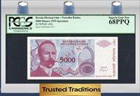 5000 Dinara 1993 Bosnia-herzegovina P Kocic Pcgs 68 Ppq Superb