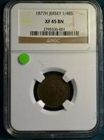 1877-H Jersey 1/48 Shilling, NGC XF45 BN, Scarce Final Mintage of 38,400, NICE!