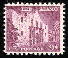 #1043 9¢ Alamo, rose lilac shade.