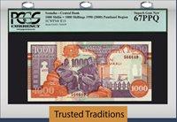1000 Shilin 1990 Pk R10 Somalia = 1000 Shillings Pcgs 67 Ppq Finest Known