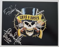 Dizzy Reed & Frank Ferrer Signed 8x10 Photo Guns N Roses Logo LEGENDS RAD