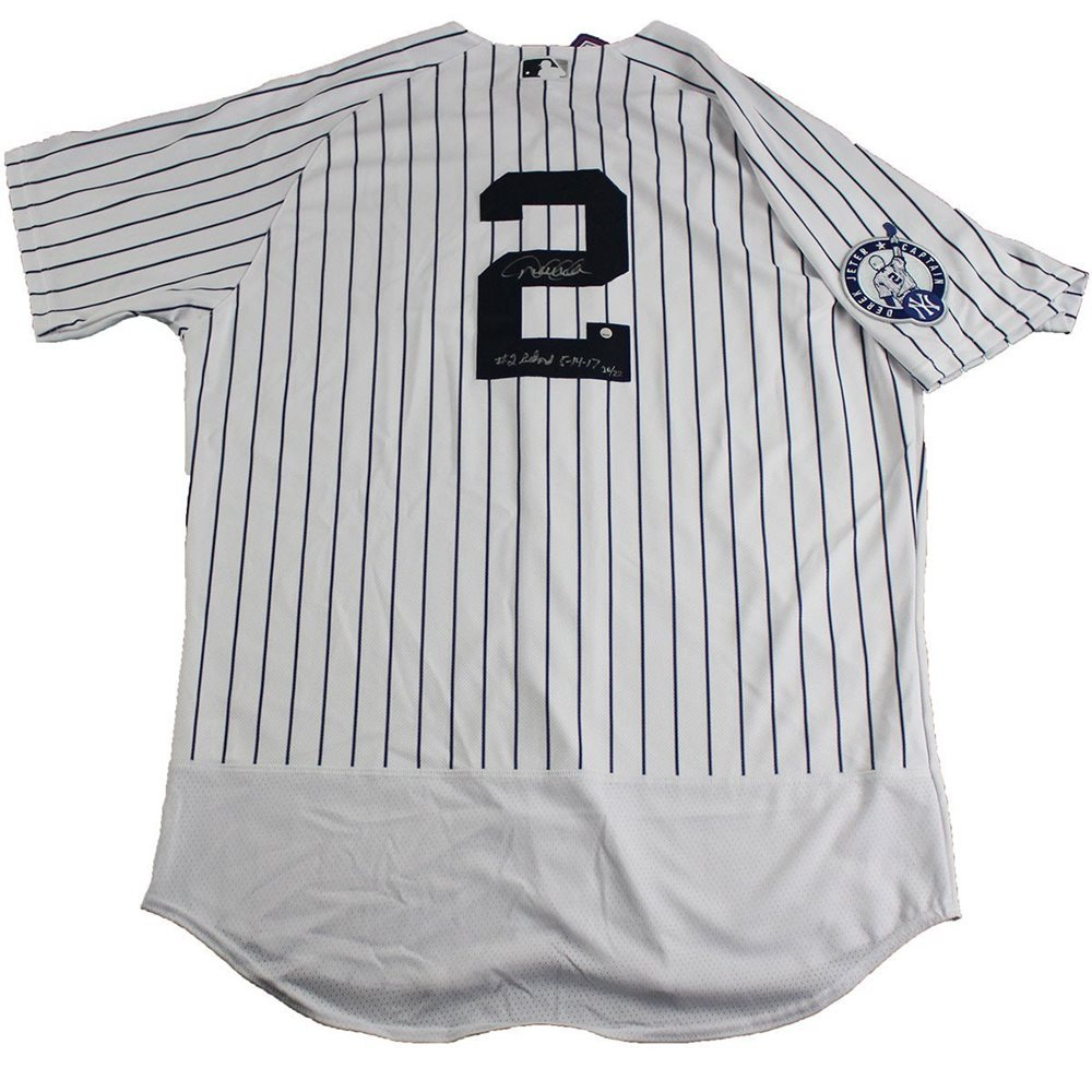 brand new 385d2 9fb2f Derek Jeter Signed New York Yankees Authentic May 14th Retirement Patch  Pinstripe Jersey w/ #2 Retired 5/14/17 Insc. (Signed On Back) (LE of 22)