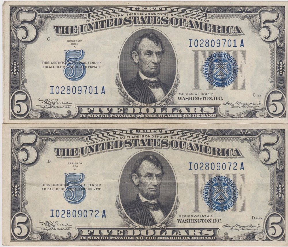2 1934 A 500 Silver Certificates Notes Blue Seal It