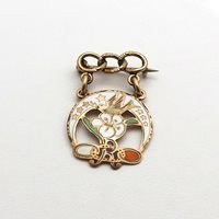 Victorian 10K Rose Gold Enamel Rebekah Fraternal Order of Odd Fellows Pin