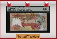 100 Rupees 1989 Seychelles Central Bank Pmg 66 Gem Uncirculated
