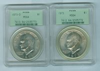 1973 P & D Ike $1 PCGS MS64. Old Green Insert