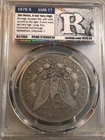 Rare 1878 S Vam 77 Morgan Dollar Pcgs Vg10 Double RIB Vss Label