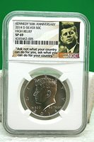 2014 D Kennedy 50th Anniversary Silver 50 Cent Piece High Relief NGC SP69