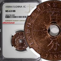 French Indo-China Bronze 1939 A 1 Cent NGC MS63 RB Nice Red Toned KM# 12.1