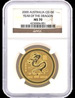 2000 Australia $100 Year Of The Dragon NGC MS70