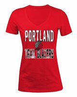 NEW NBA Portland Trail Blazers Women's Baby Short sleeve V Neck Tee, Red, Large