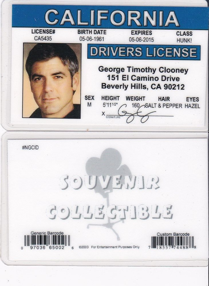 Actor GEORGE CLOONEY Collectible card Drivers License fake id card