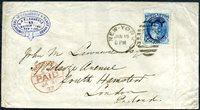 #179, fine, NEW YORK, JAN 19 (1877) postmark and duplexed numeral 2 ellipse (early use) tie to fine intact cover with fancy blue corner advertisement, red JA 31, 77, LONDON, N.W. PAID receiver. Vertical cover bend at right away from the stamp.