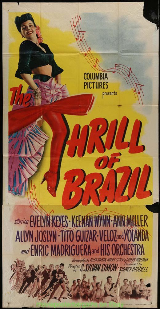 THE THRILL OF BRAZIL MOVIE POSTER 1946 Three Sheet Size 41x81 Inches ANN  MILLER