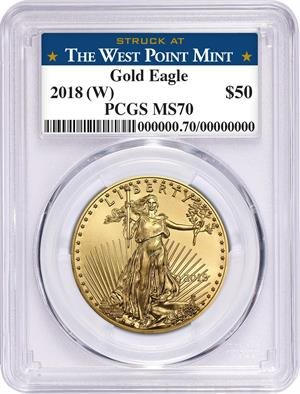 W 2018 SILVER EAGLE PCGS MS70 MERCANTI STRUCK AT WEST POINT FIRST DAY OF ISSUE