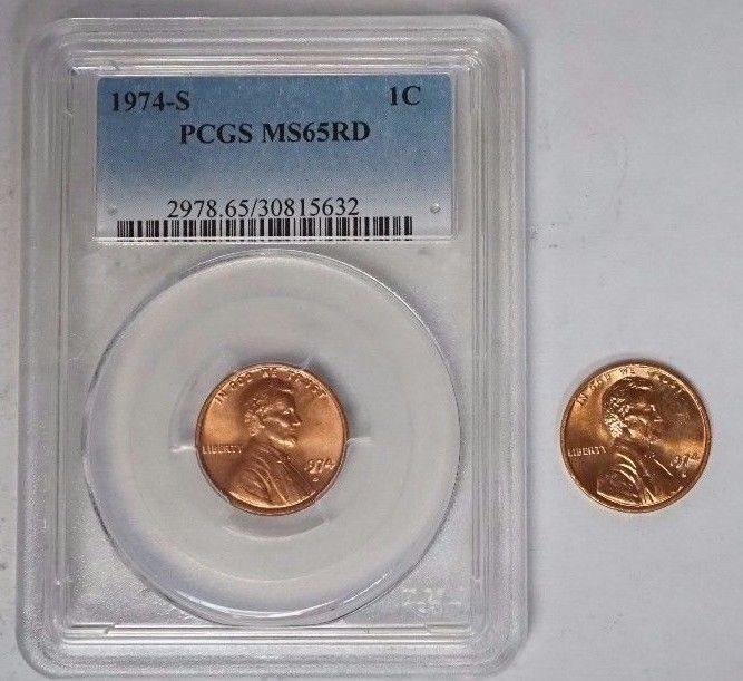 1974 S 1C Lincoln Memorial Cent Penny PCGS MS65RD Plus Bonus