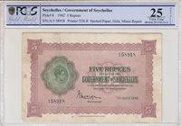 Seychellen 5 Rupees Georges Vi 1942 Pcgs Vf 25