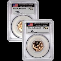 2018 W $5 Gold Breast Cancer Awareness 2 Coin Set PCGS MS70/PR70 DCAM First Day of Issue Mercanti Signed with 2 Coin Wood Case