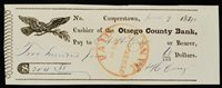 Obsolete Bank Check Otsego County Bank Cooperstown New York 1840 Bank Slip