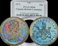 1971 Canada British Columbia Silver Dollar PCGS SP66 Rainbow Monster Toned