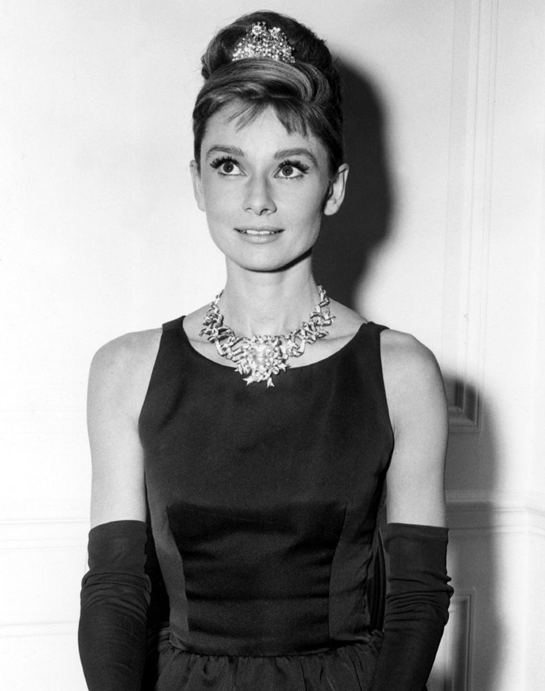AUDREY HEPBURN 8x10 PHOTO film actress BLACK DRESS
