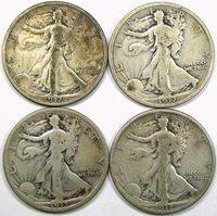 1917-1918 EARLY WALKING LIBERTY HALF DOLLAR LOT ~ 4 ORIGINAL VG-F COINS!