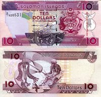 "Solomon Islands 10 Dollars Pick #: 27r 2009 UNCOther X/1 Prefix (Replacement Note) Red Crest; Man weaving; Decrotive tasselsNote 6"" x 2 3/4"" Australia and the South Pacific Head of Falcon - CBSI initials"