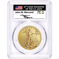 2018 W $50 Burnished Gold Eagle PCGS SP70 First Day of Issue Mercanti Signed Flag Label
