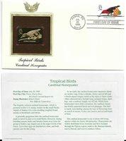 Tropical Birds, Cardinal Honeyeater--1st day issue-Golden Replica