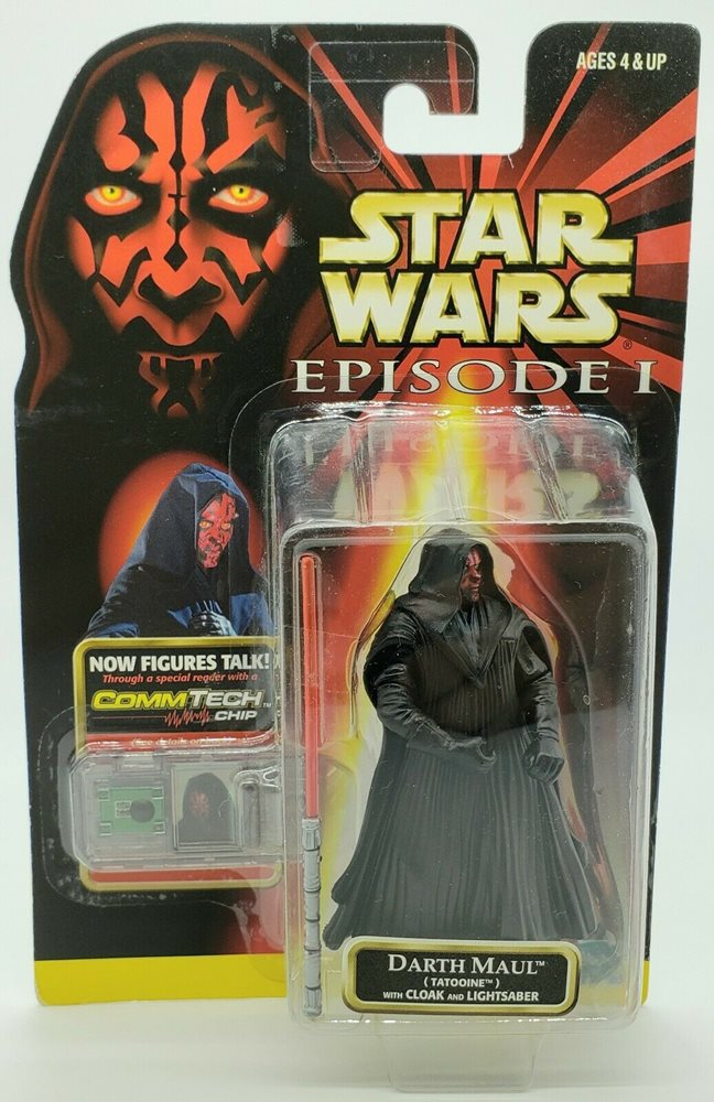 STAR WARS EPISODE 1 DARTH MAUL W// DOUBLE-BLADED LIGHT SABER COMMTECH CHIP MOC!