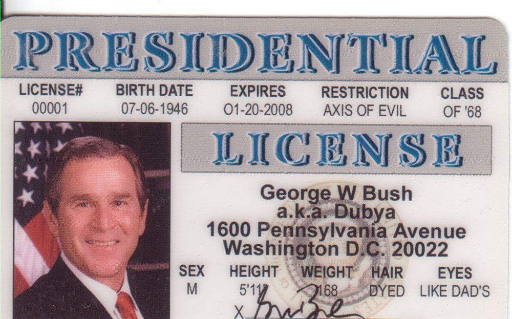 President Card Li Bush Us W Of Id Jr George The Drivers