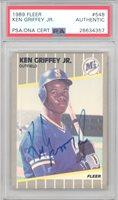 Ken Griffey Jr. Autographed 1989 Fleer Rookie Card #548 Seattle Mariners PSA/DNA #28634357Ken Griffey Jr. Autographed 1989 Fleer Rookie Card #548 Seattle Mariners PSA/DNA #28634357