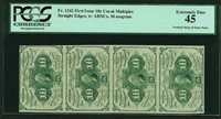 1862-63 10 CENT FRACTIONAL CURRENCY FR-1242 CERTIFIED PCGS XF45, STRIP OF (4)