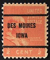 Des Moines, Iowa Precancel – Half-cent Prexie (U.S. #803) IA
