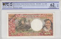 Neukaledonien 1000 Francs Tahitian woman Hut in palm trees 1969 Pcgs 62 Opq