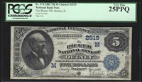 1882 5 Dollar National Banknote Ch 2519 Quincy Illinois 25 PPQ