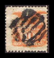 Lot id: 4264 - 116 10 Cent 1869 Issue116 Tear CV $130.00